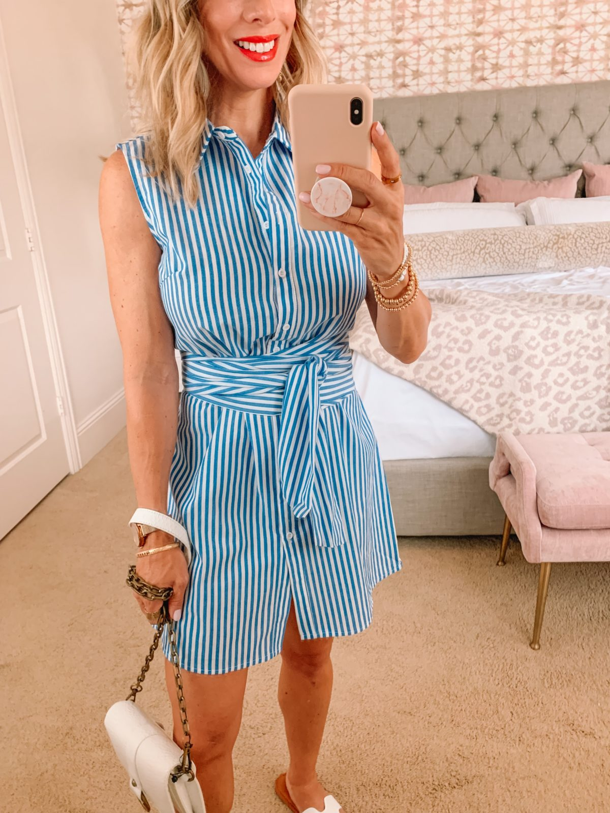 Amazon Fashion Faves, Striped Dress and White Sandals, Crossbody Bag