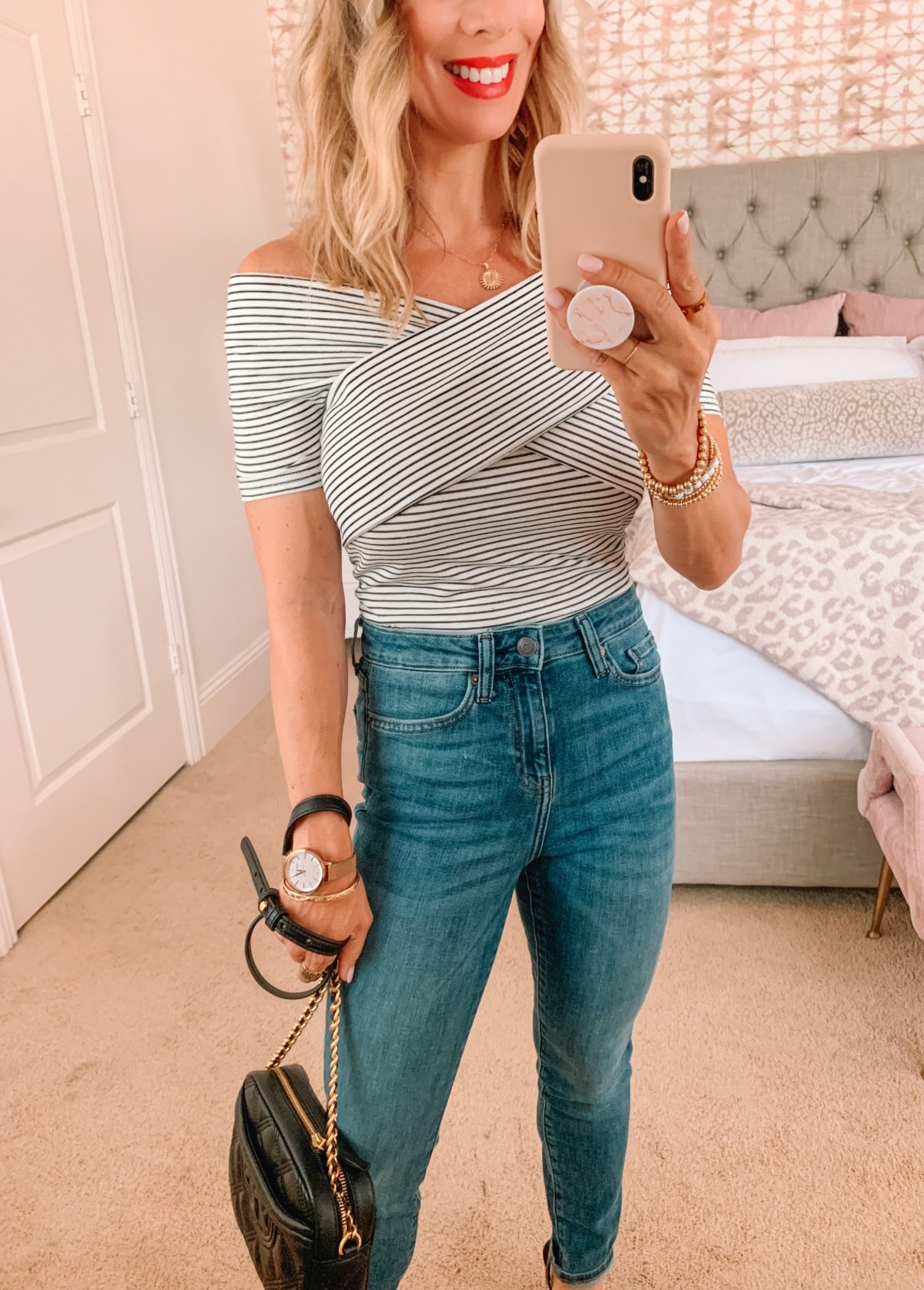 Amazon Fashion Faves, Striped Top, Jeans, Sandals, Crossbody