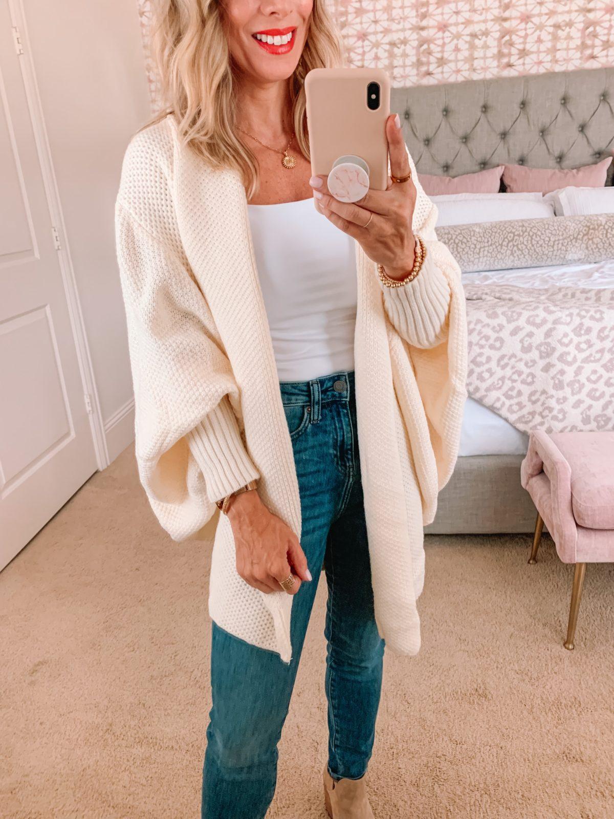 Amazon Fashion Faves, Bodysuit, Jeans, Cardigan, Booties