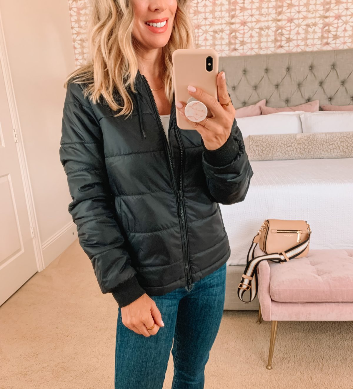 Nordstrom Anniversary Sale, Puffer Jacket, Jeans, Boots, Crossbody