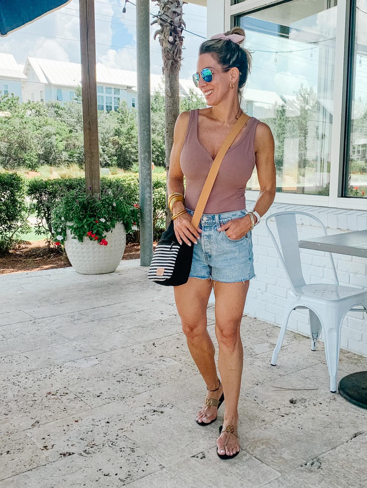 Henley Bodysuit, Shorts, Sandals