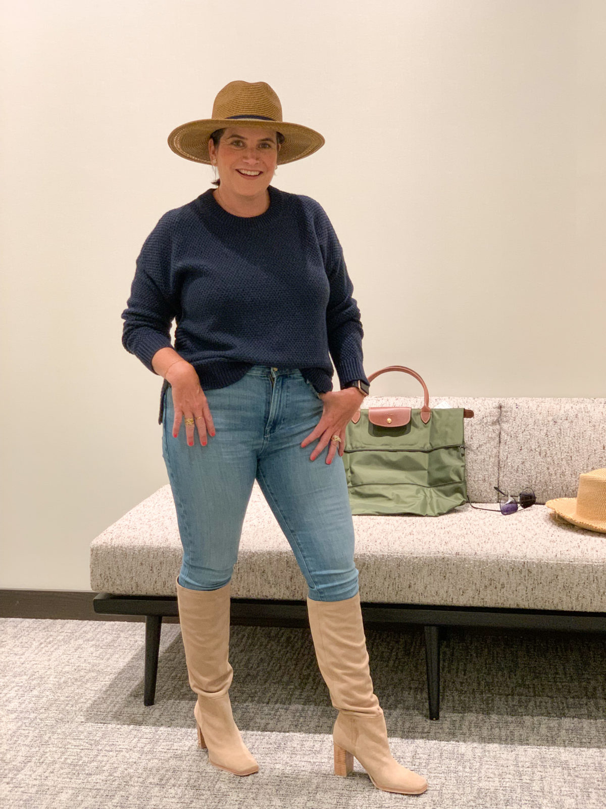 Nordstrom Anniversary Sale, Sweater, Jeans, Boots, Longchamp Tote, hat