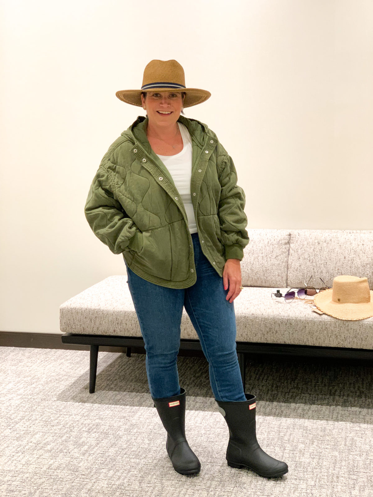 Nordstrom Anniversary Sale Green Quilted jacket, Jeans, Hunter Boots, Hat