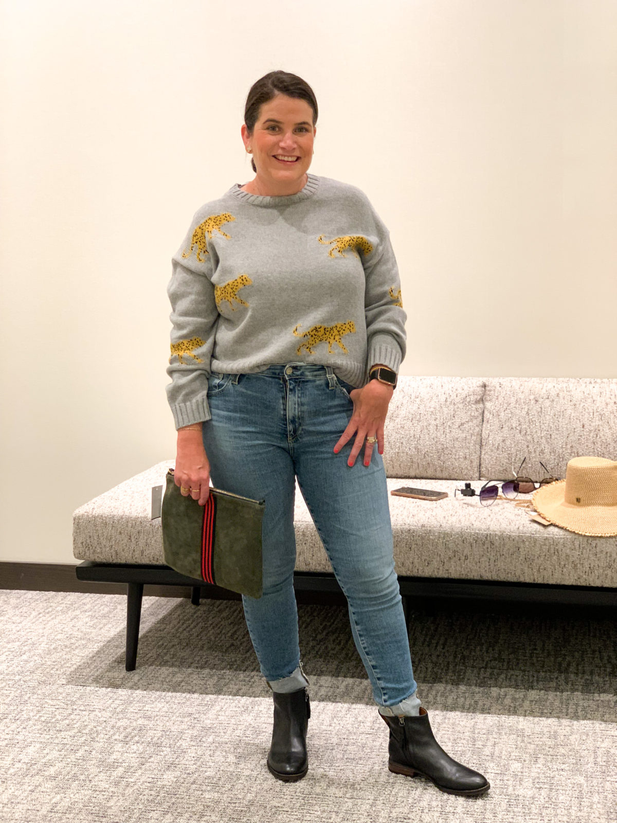 Nordstrom Anniversary Sale, Tiger Sweater, Jeans Boots and clutch