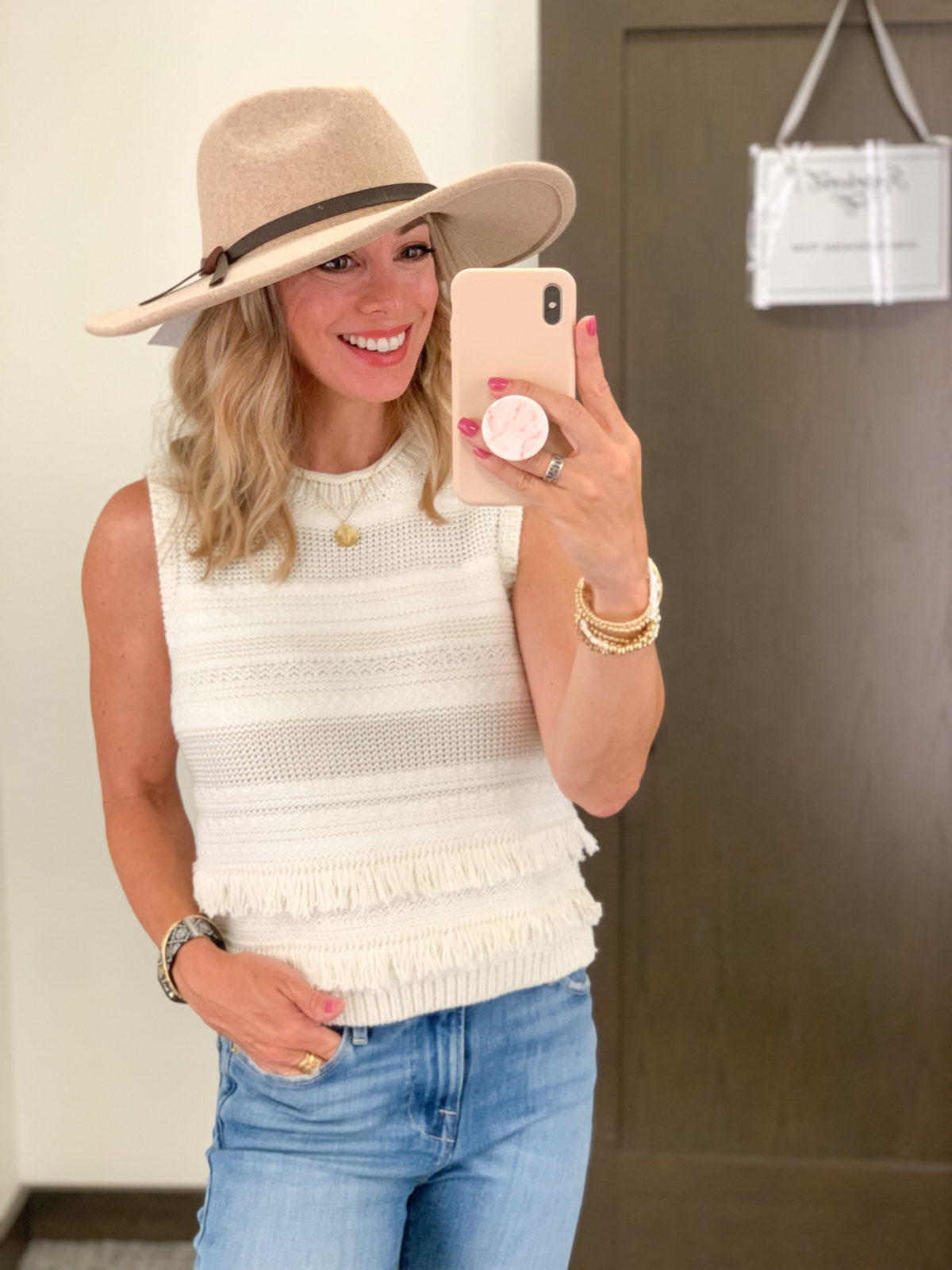 Nordstrom Anniversary Sale, Sweater Tank, Jeans, Hat