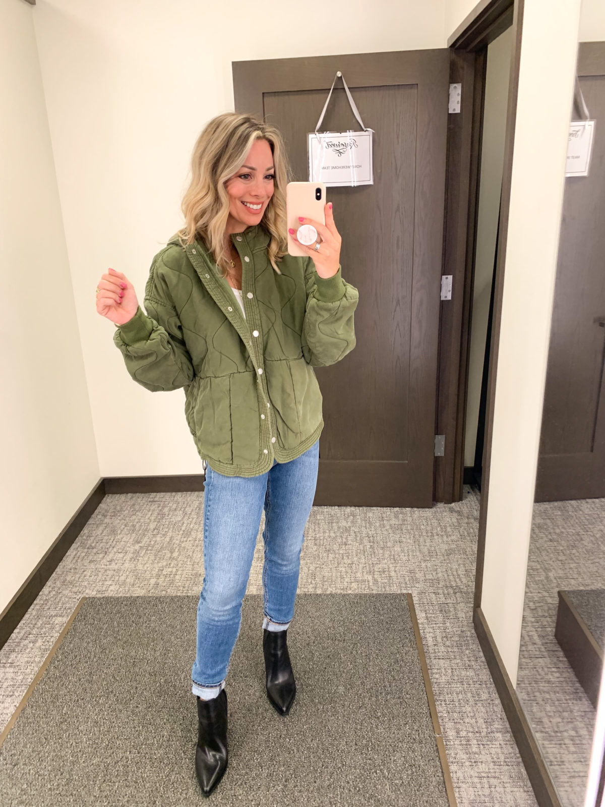 Nordstrom Anniversary Sale Green Quilted jacket, Jeans, Booties