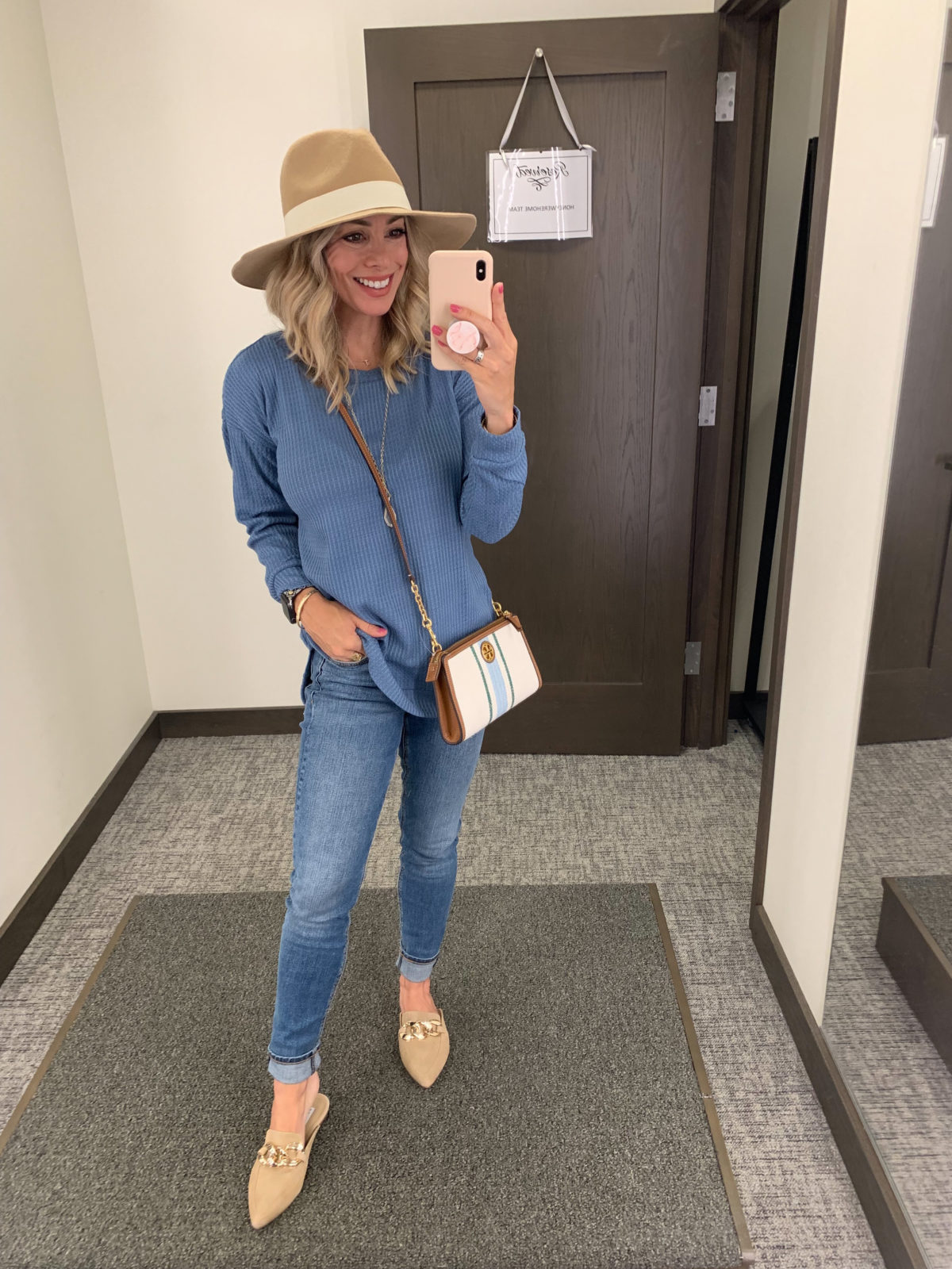 Nordstrom Anniversary Sale, Waffle Knit top, Jeans, Mules, Booties, Crossbody