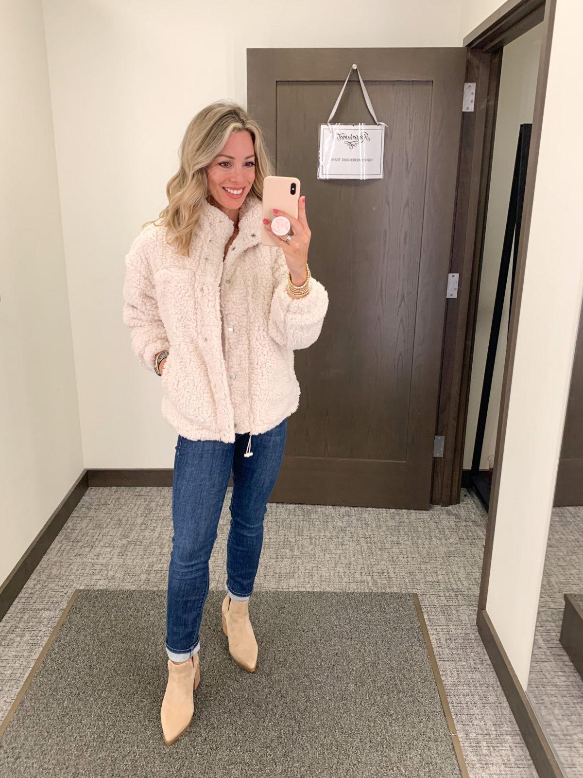 Nordstrom Anniversary Sale, Sherpa Jacket, Jeans, Booties
