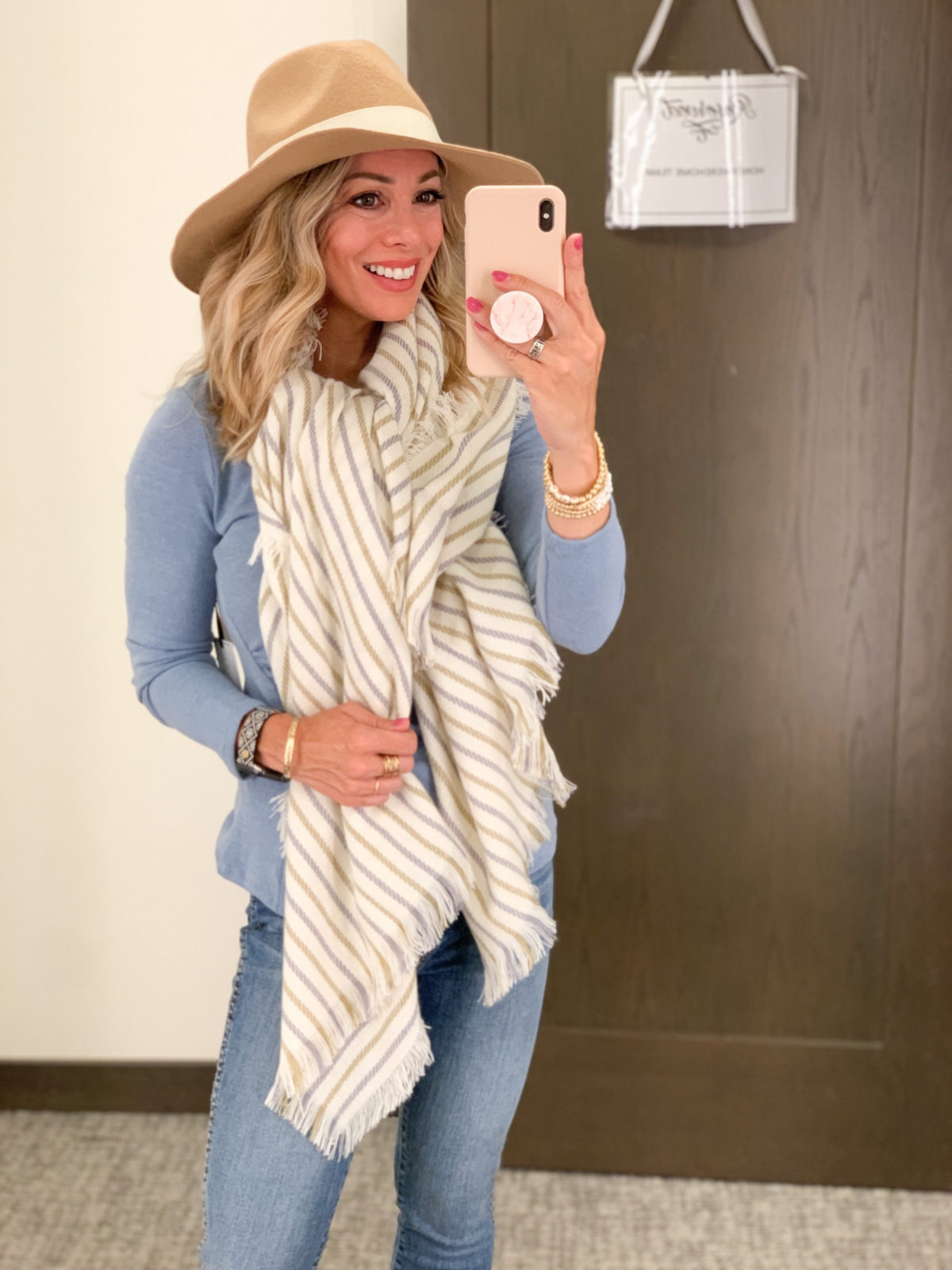 Nordstrom Anniversary Sale, Blue Sweater, Scarf, Hat, Booties, Jeans