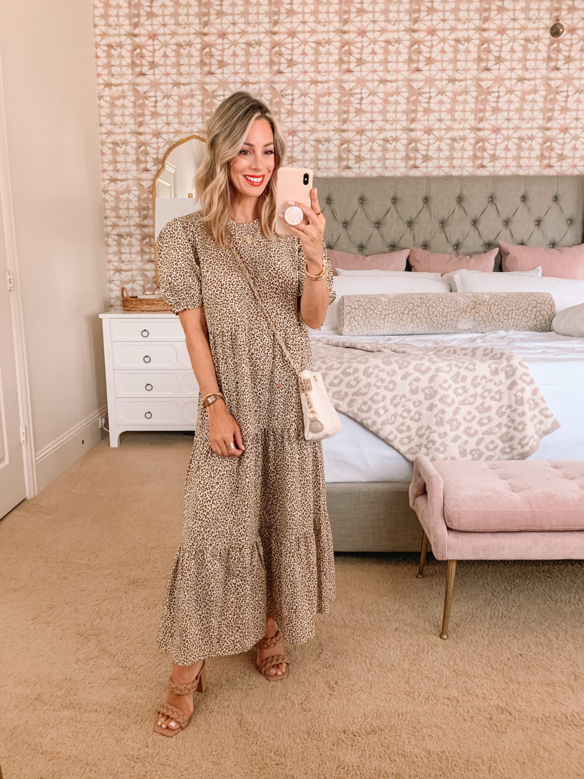 Amazon Fashion Faves, Leopard Dress and Sandals with Crossbody