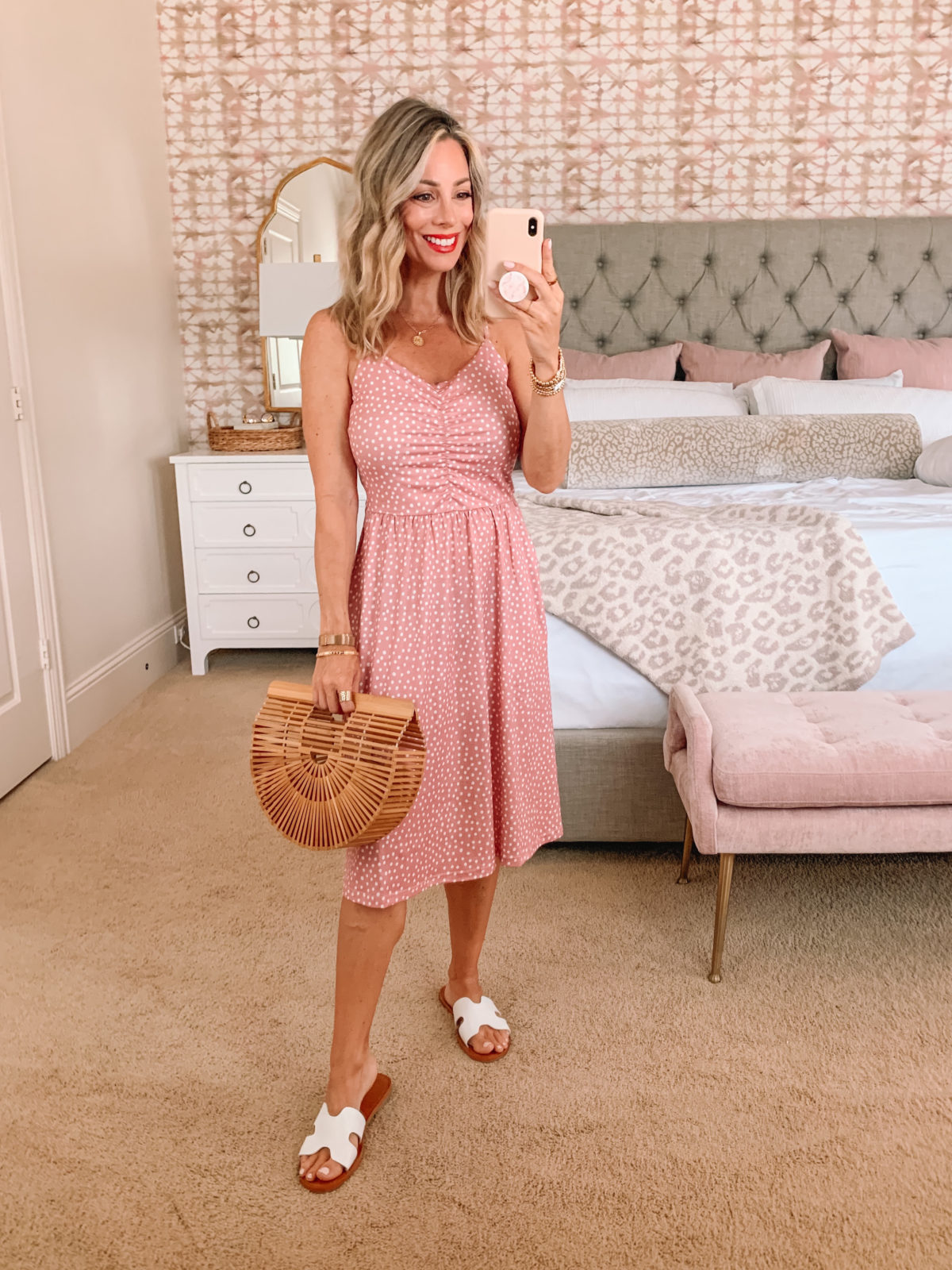 Amazon Fashion Faves, Pink Polka Dot Dress and Sandals with Bamboo Clutch