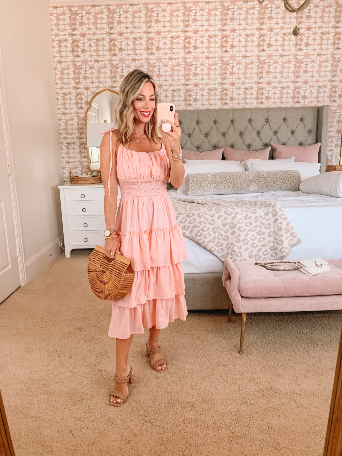 Amazon Fashion Faves, Pink Tiered Dress and Sandals with Bamboo Clutch