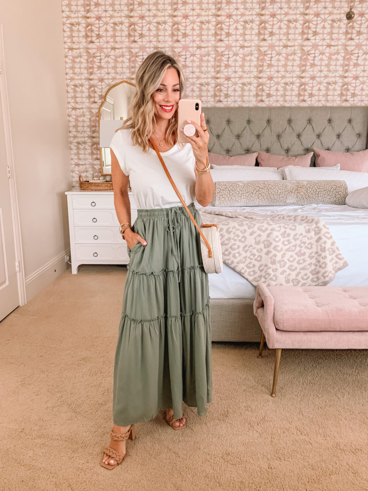 Amazon Fashion Faves, White Tee and Maxi Skirt with Sandals and Crossbody