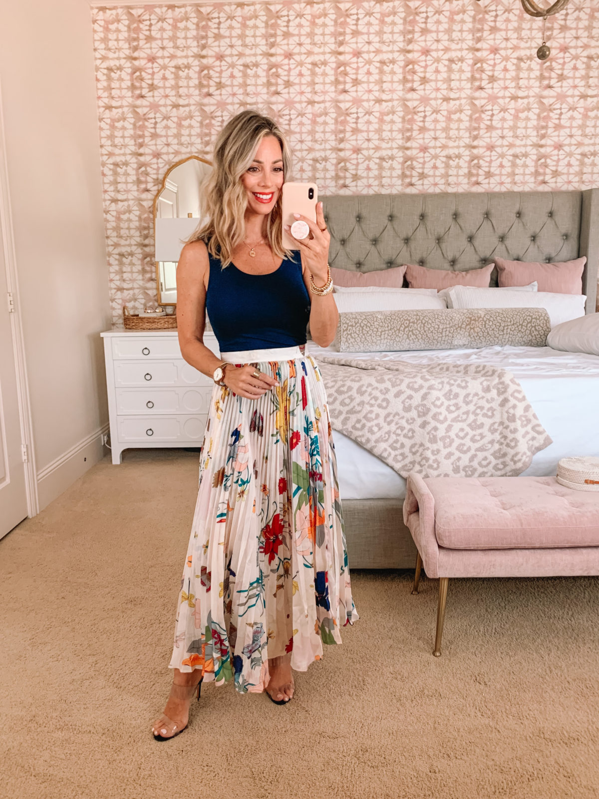 Amazon Fashion Faves, Bodysuit and Floral Skirt with Clear Sandals