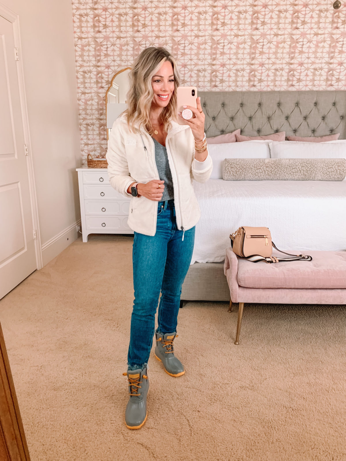 Nordstrom Anniversary Sale, Sherpa Jacket, Jeans, Rain Boots