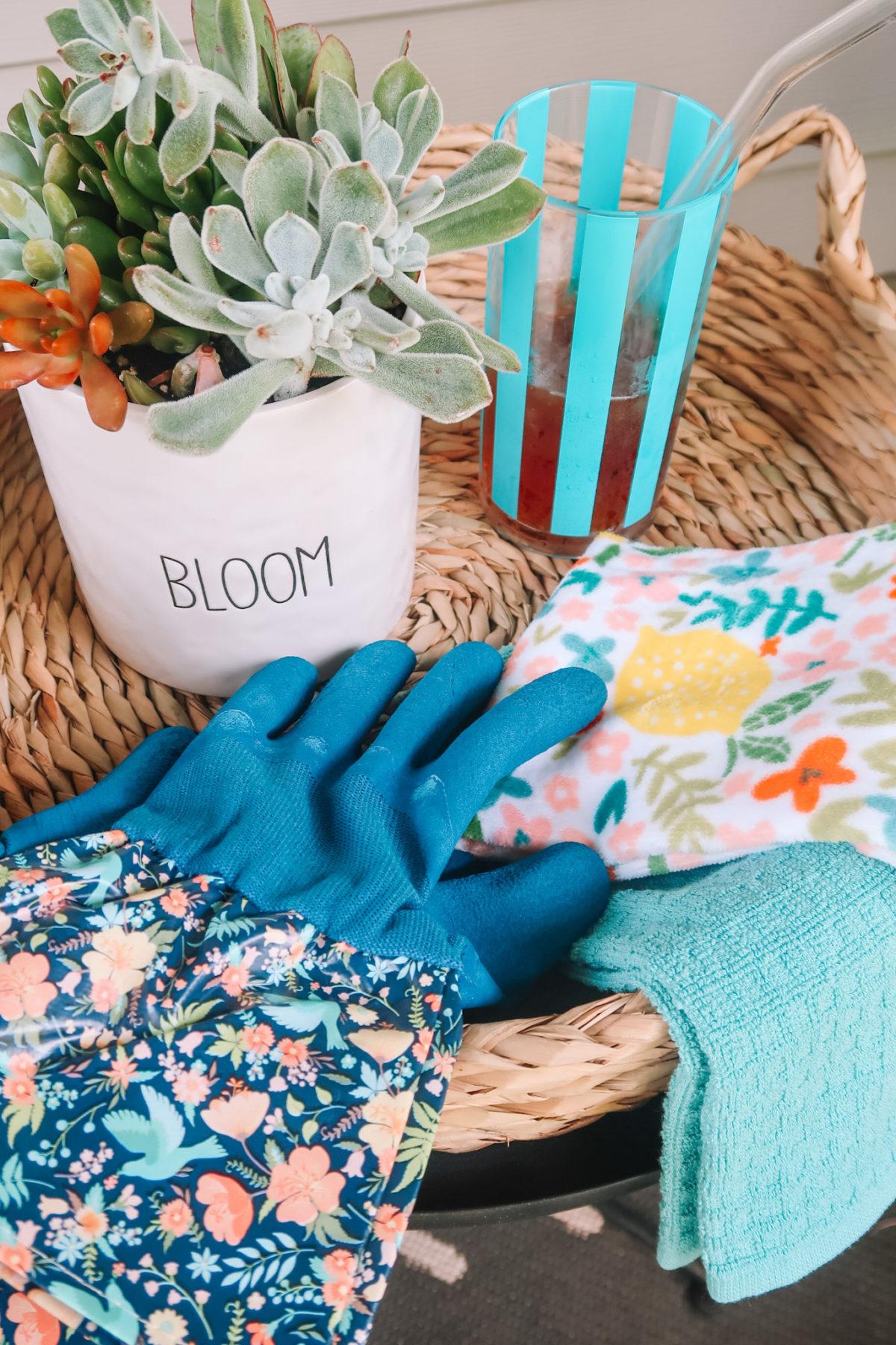 Walmart +, Woven Tray, Succulent, Striped Tumbler, Kitchen Towels