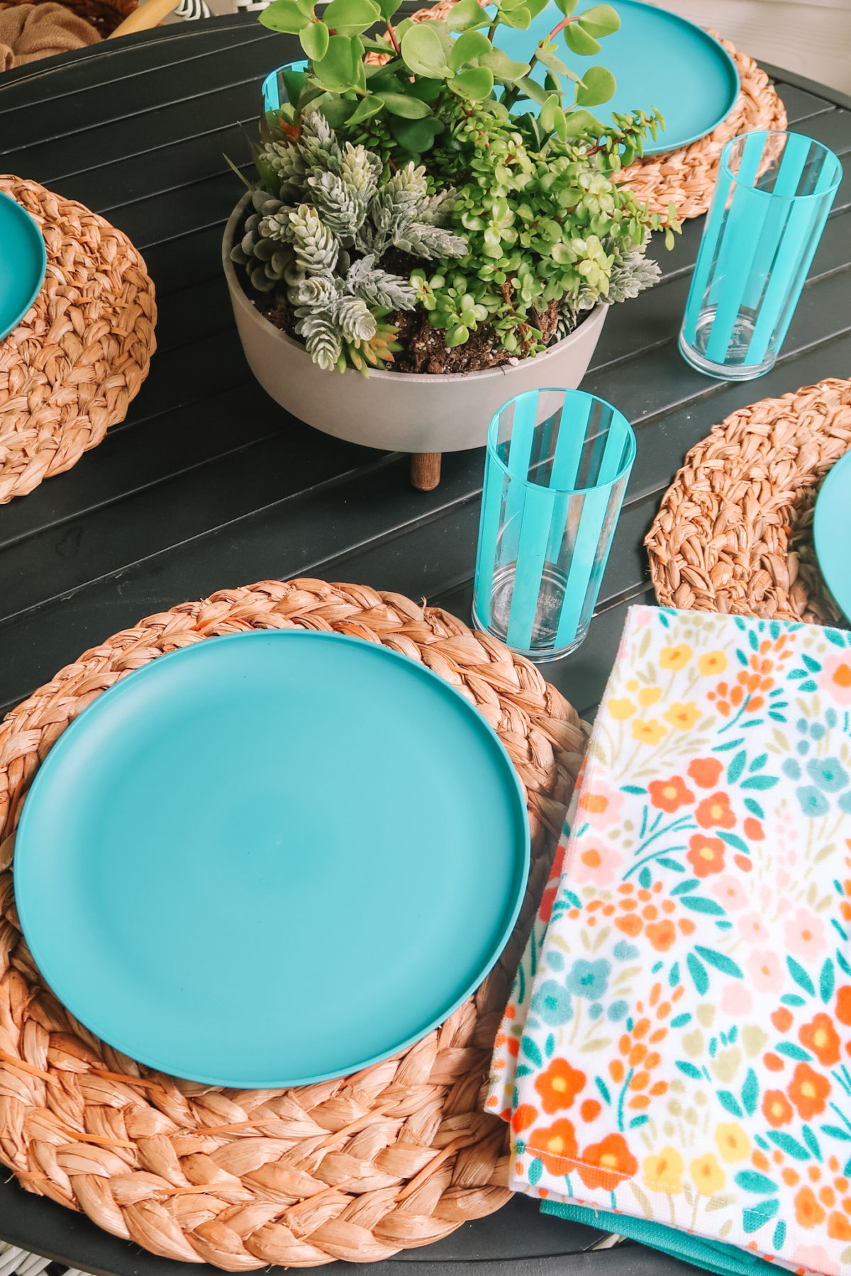 Walmart +, Patio Furniture, Hyacinth Placemat, dinner Plate, Kitchen Towel, Striped Tumbler, Succulents