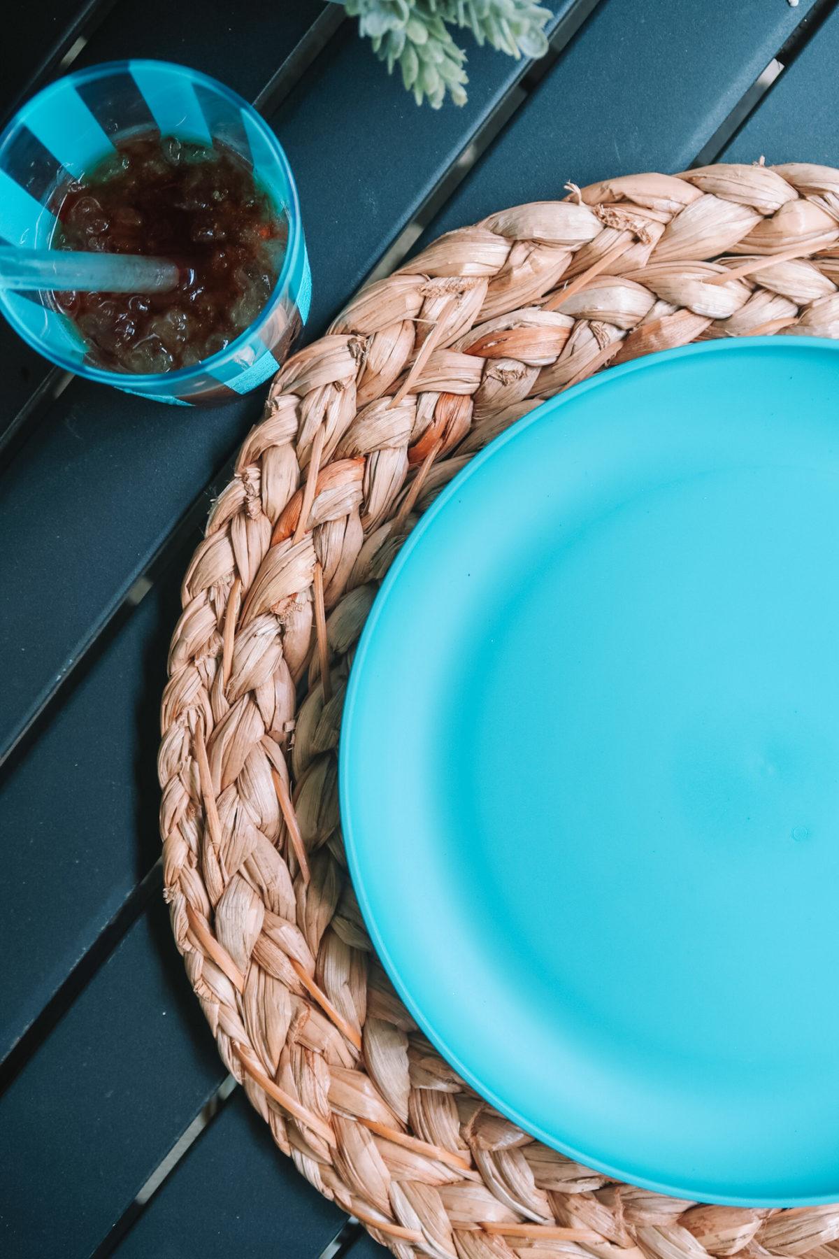 Walmart +, Striped Tumbler, Hyacinth Placemat, Dinner Plate