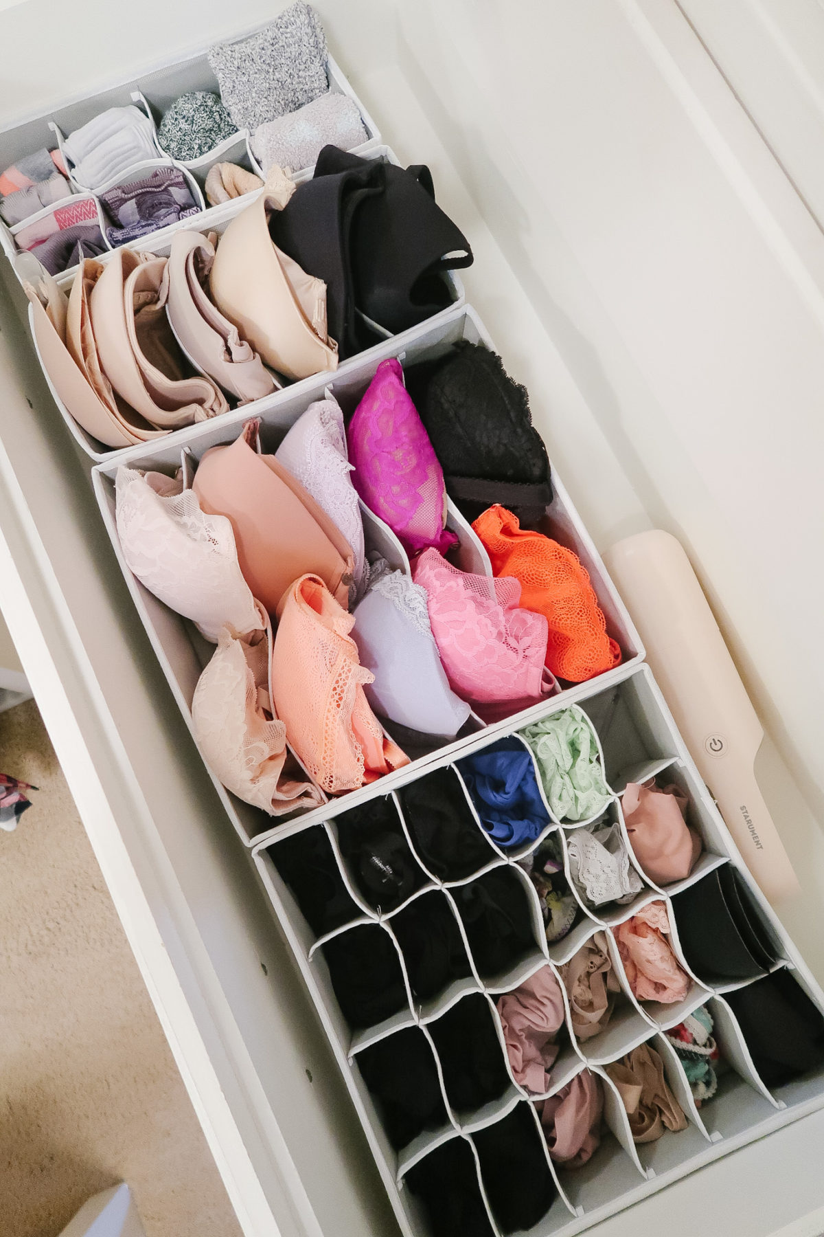 Organized Master Closet - lingerie drawer