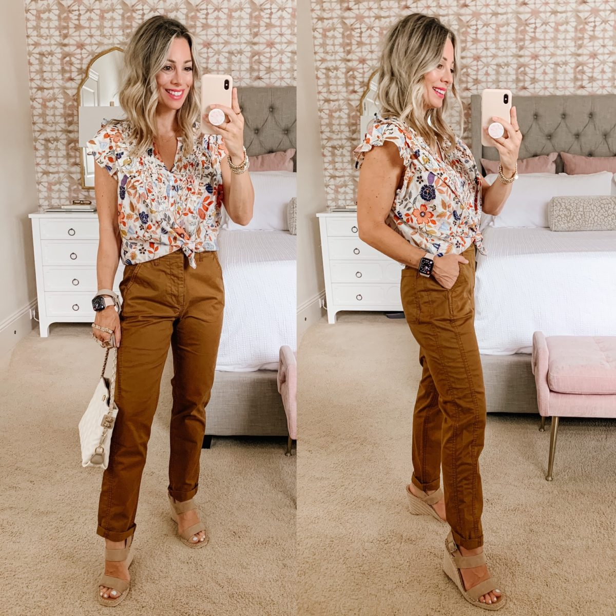 Old Navy Fashion, Floral Top, Brown Pants, Wedges, Crossbody