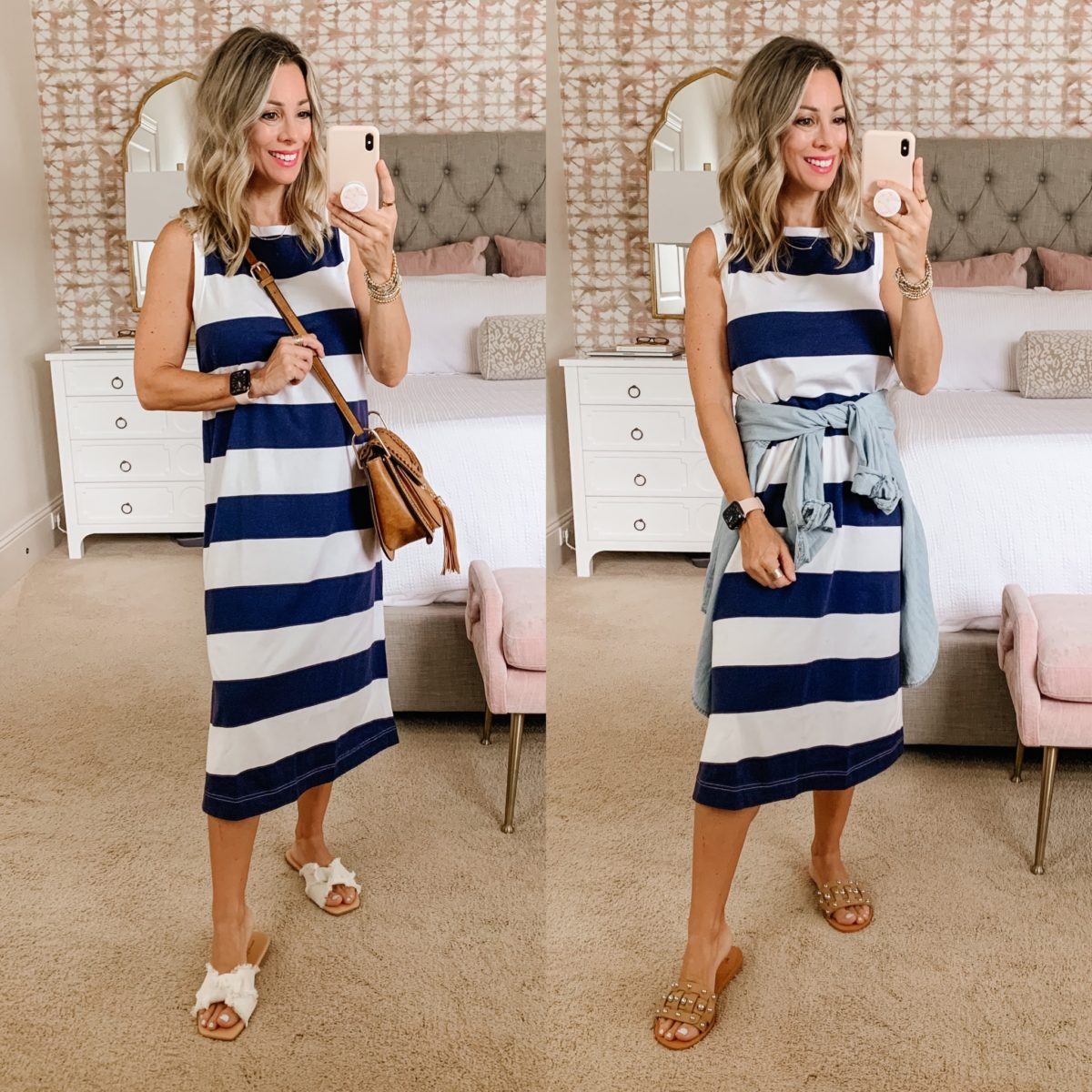 Old Navy Fashion, Striped Dress, with Sandals and Crossbody and Chambray Top