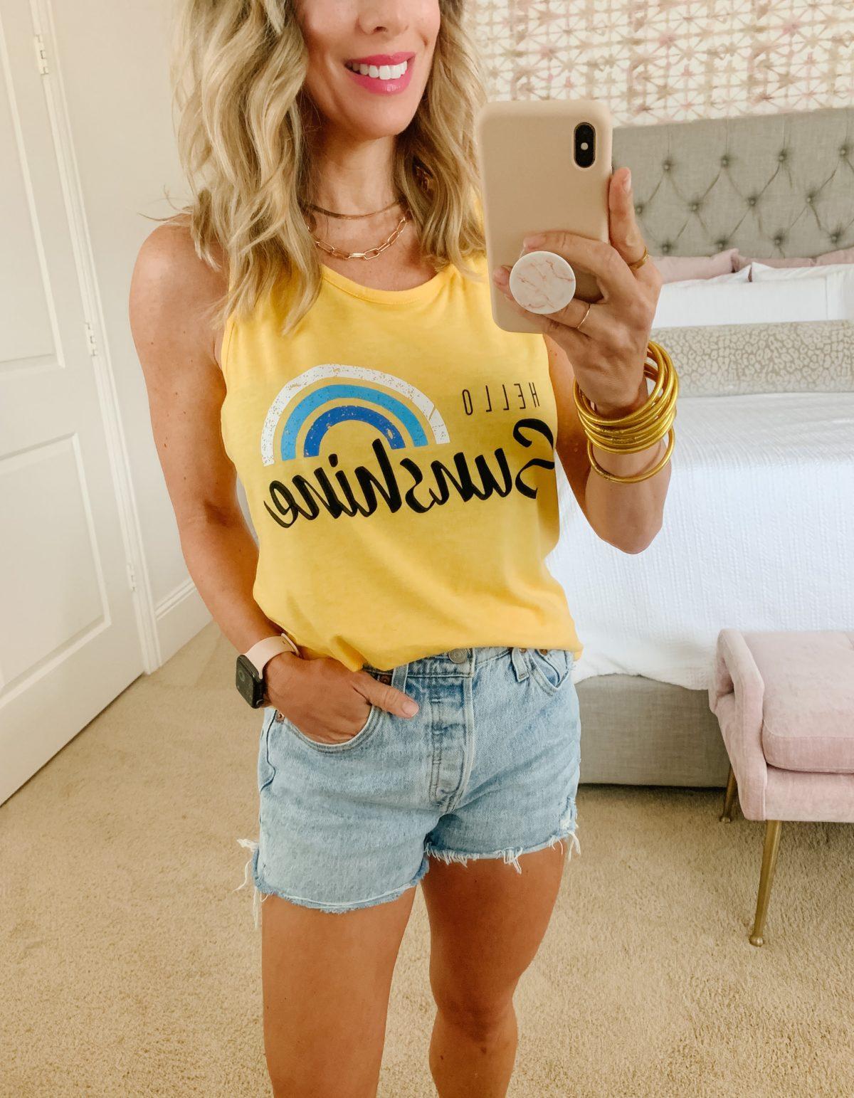 Amazon Fashion Faves, Sunshine Tank, Jeans Shorts