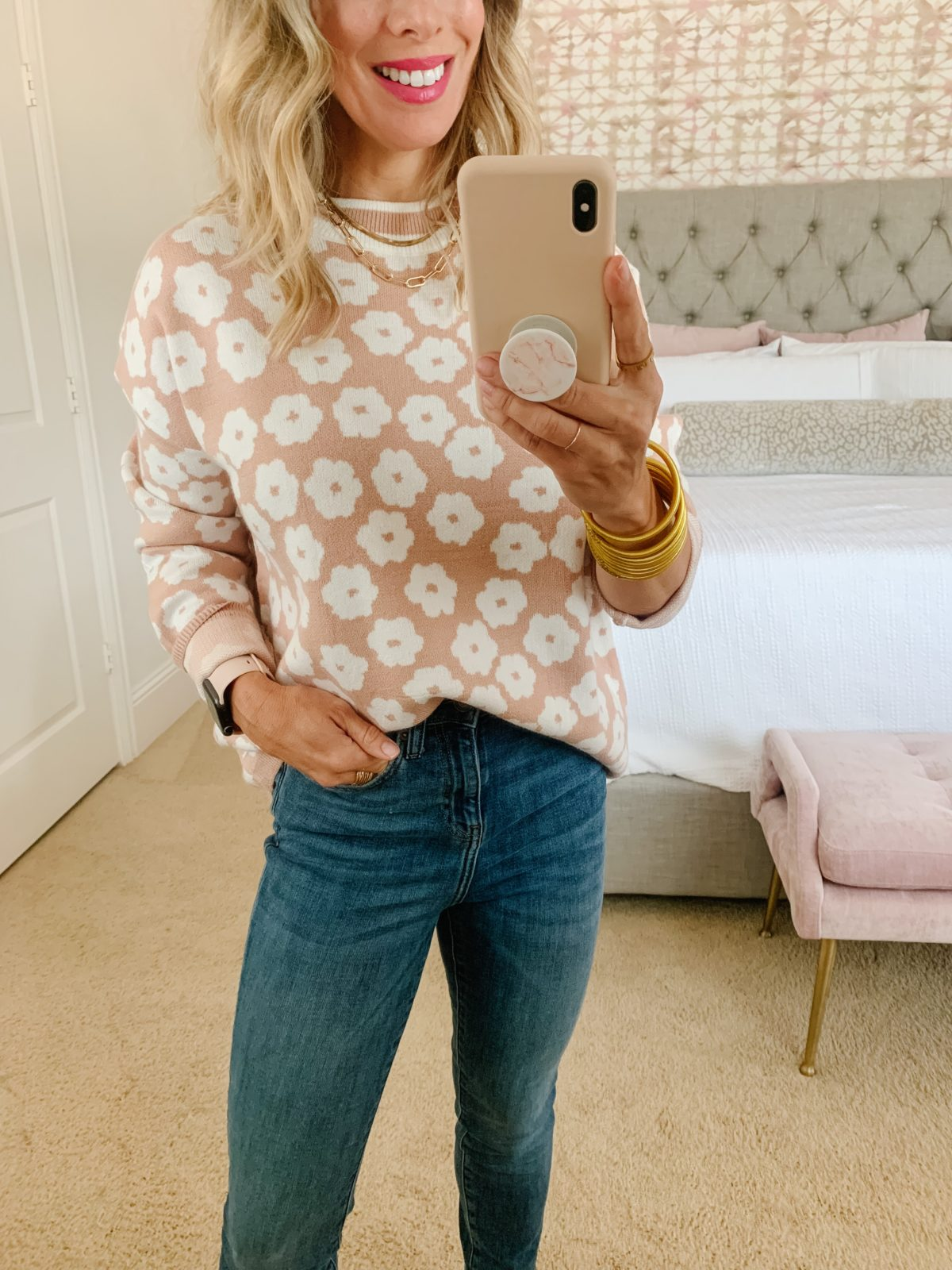 Amazon Fashion Finds, Flower Sweater, Jeans, Booties