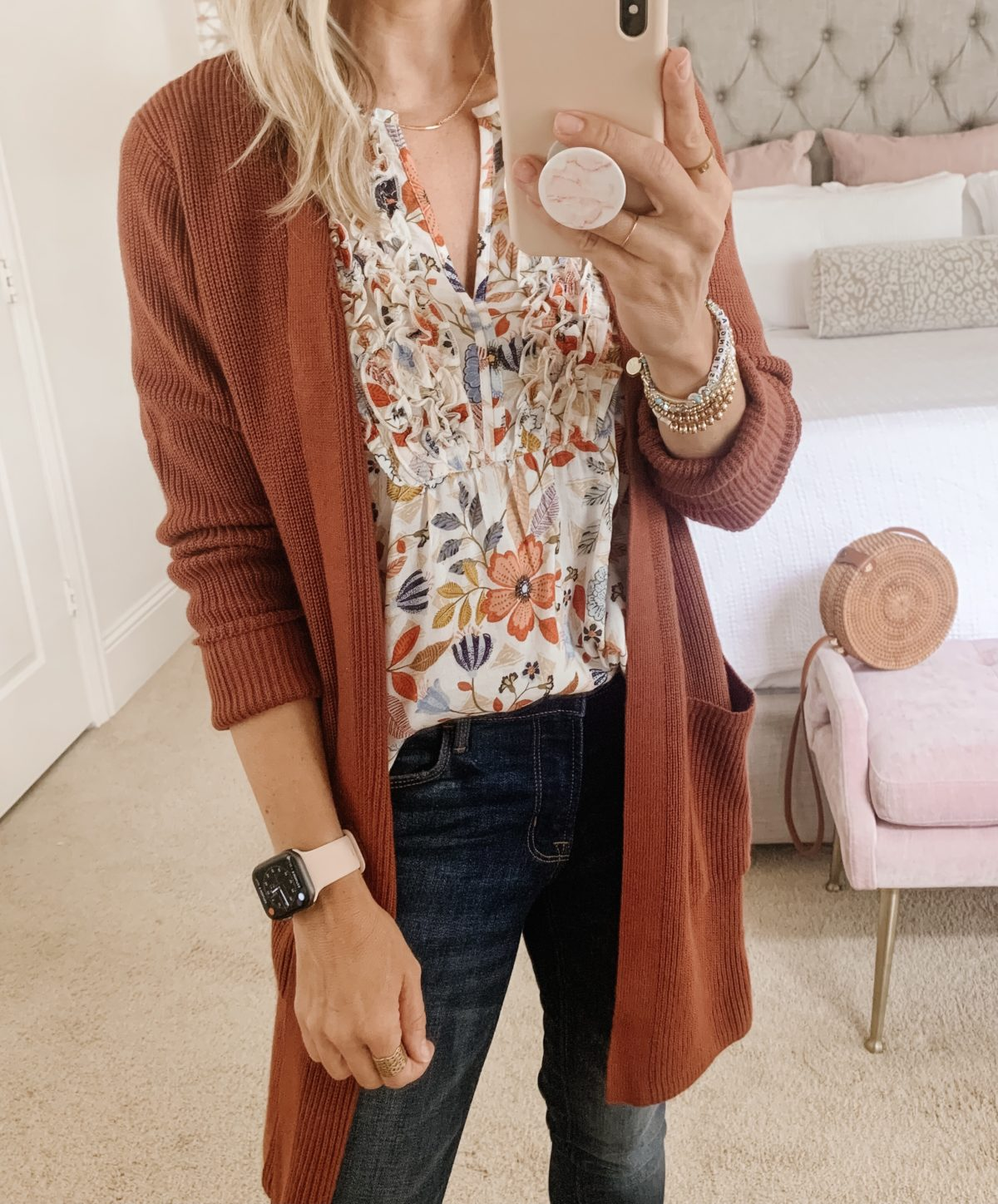 Old Navy fashion, Floral top, Cardigan, and Jeans with Sandals and Crossbody