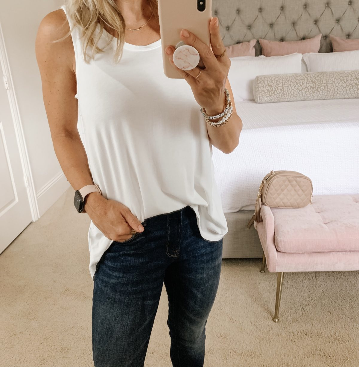 Old Navy Fashion, White Tank, Jeans, Crossbody and Wedges