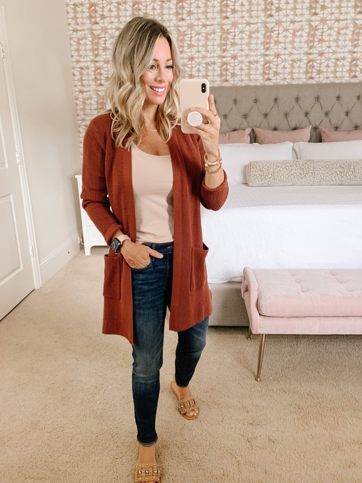 Old Navy Fashion, Tank, Cardigan, Jeans, Sandals