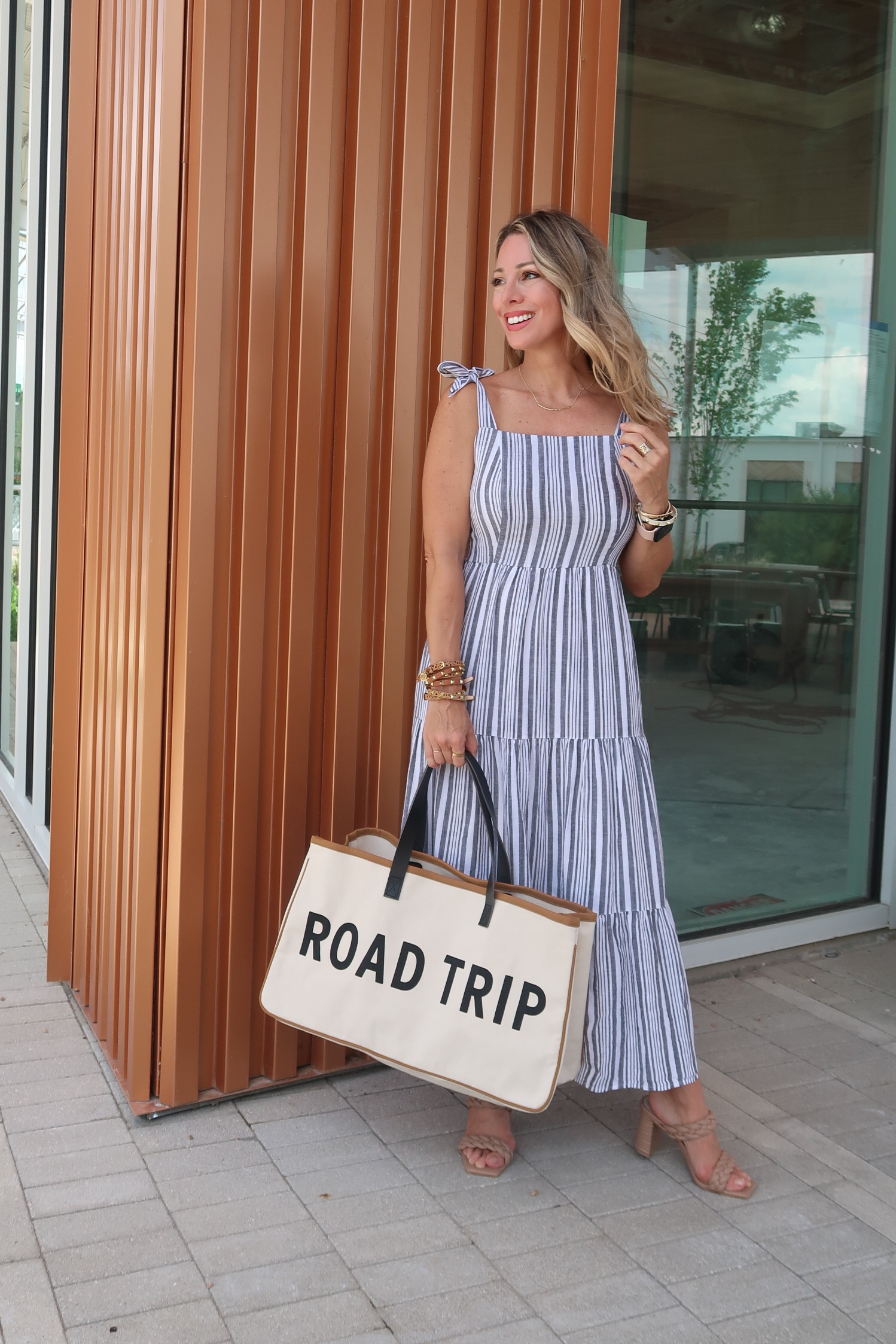 Stiped Tiered Dress, Road Trip Tote Bag