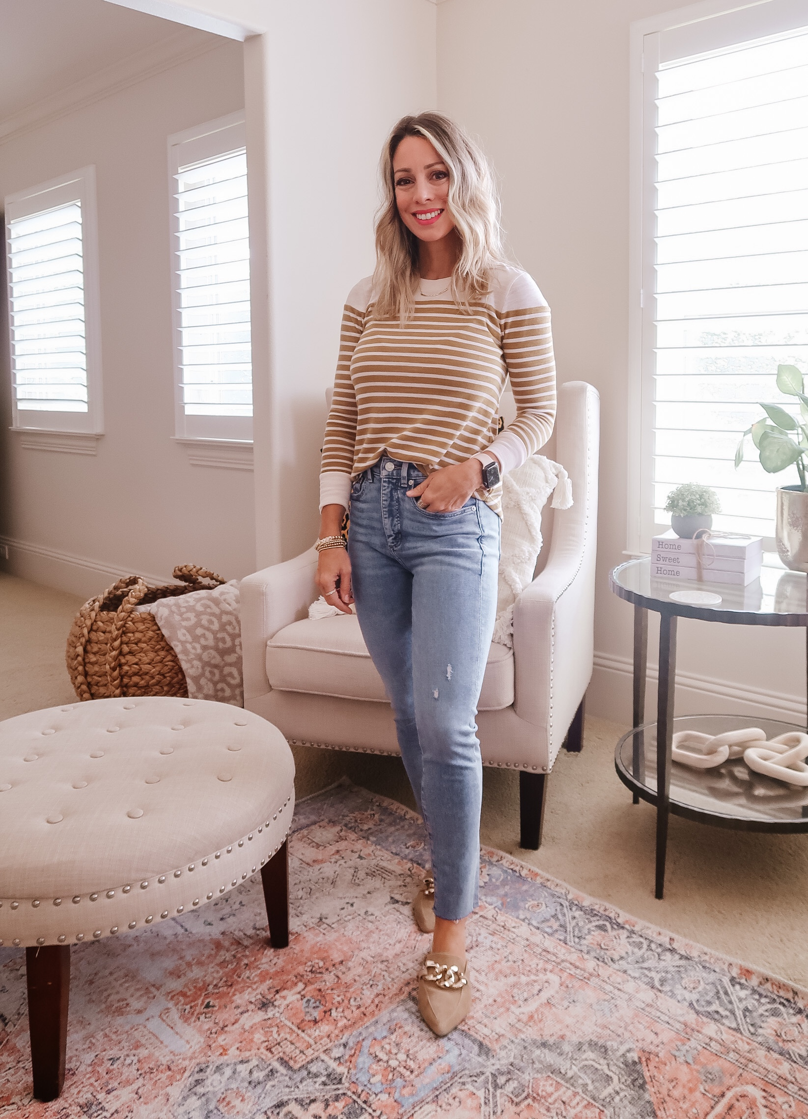 Striped Long Sleeve Top, Jeans, Mules