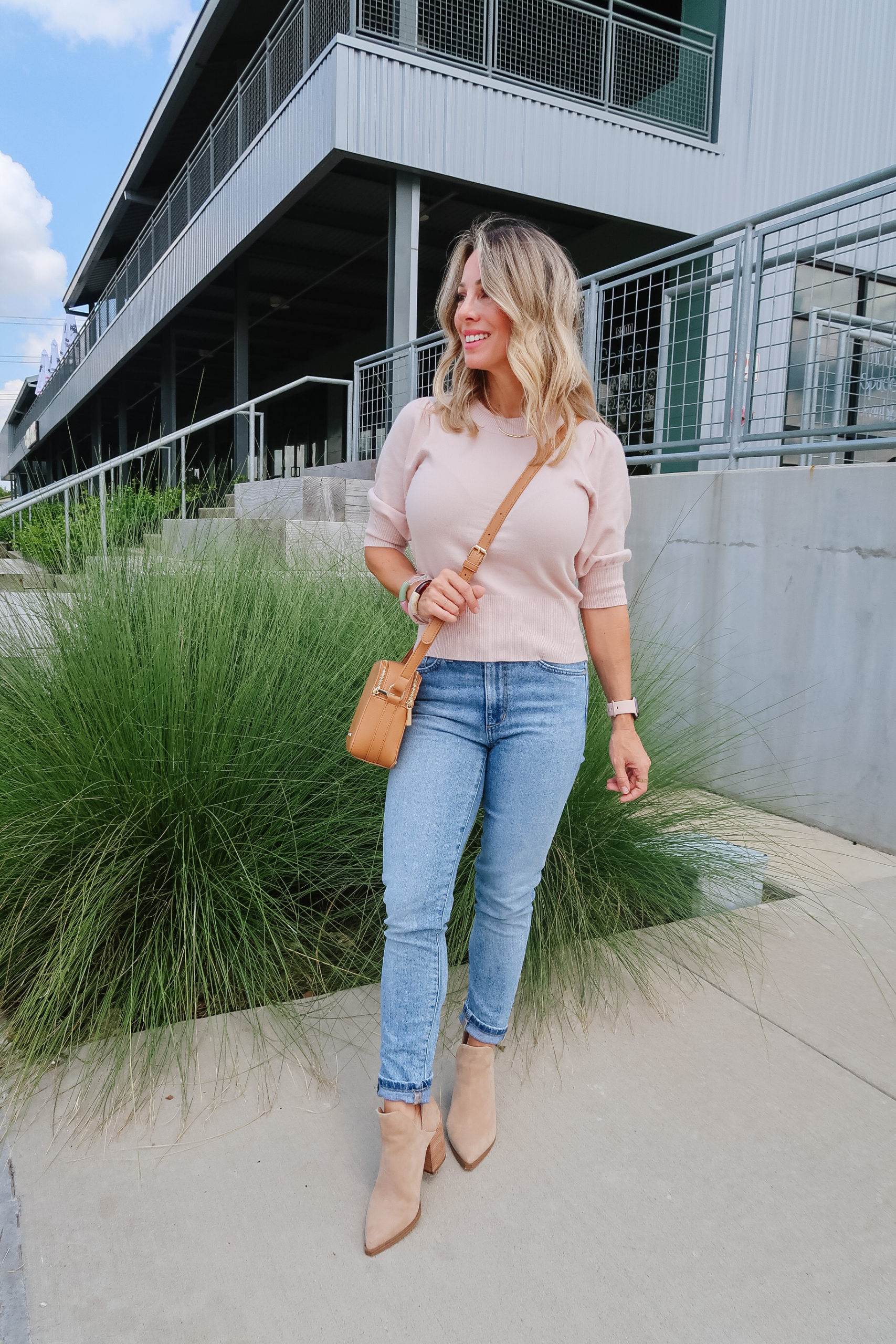 Outfits Lately, Sweater Top, Jeans, Booties, Crossbody