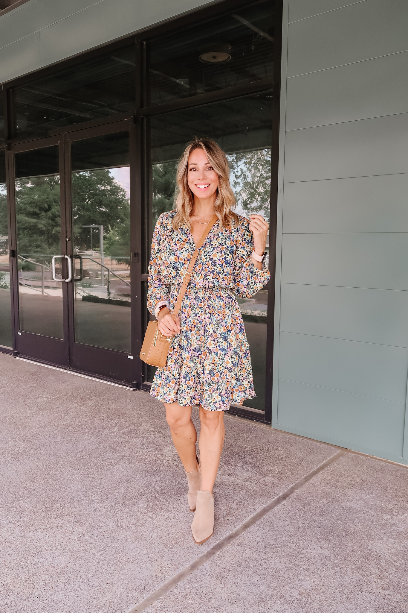 Outfits Lately, Floral Dress, Booties, Crossbody