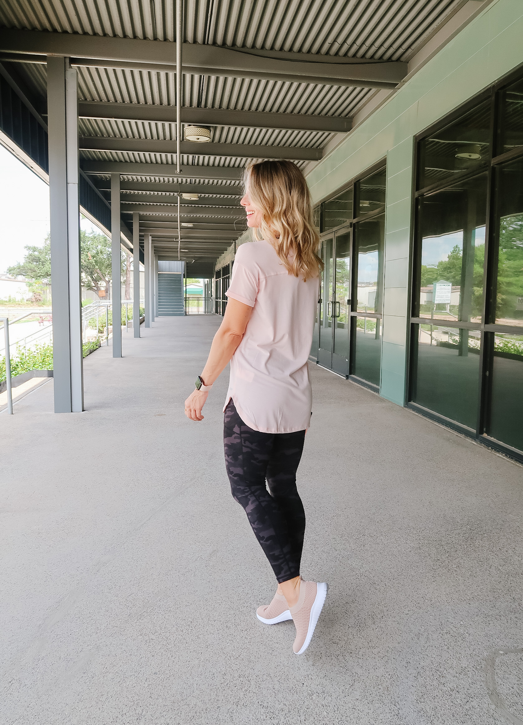 Tee and Camo Leggings, Sneakers and Water Bottle