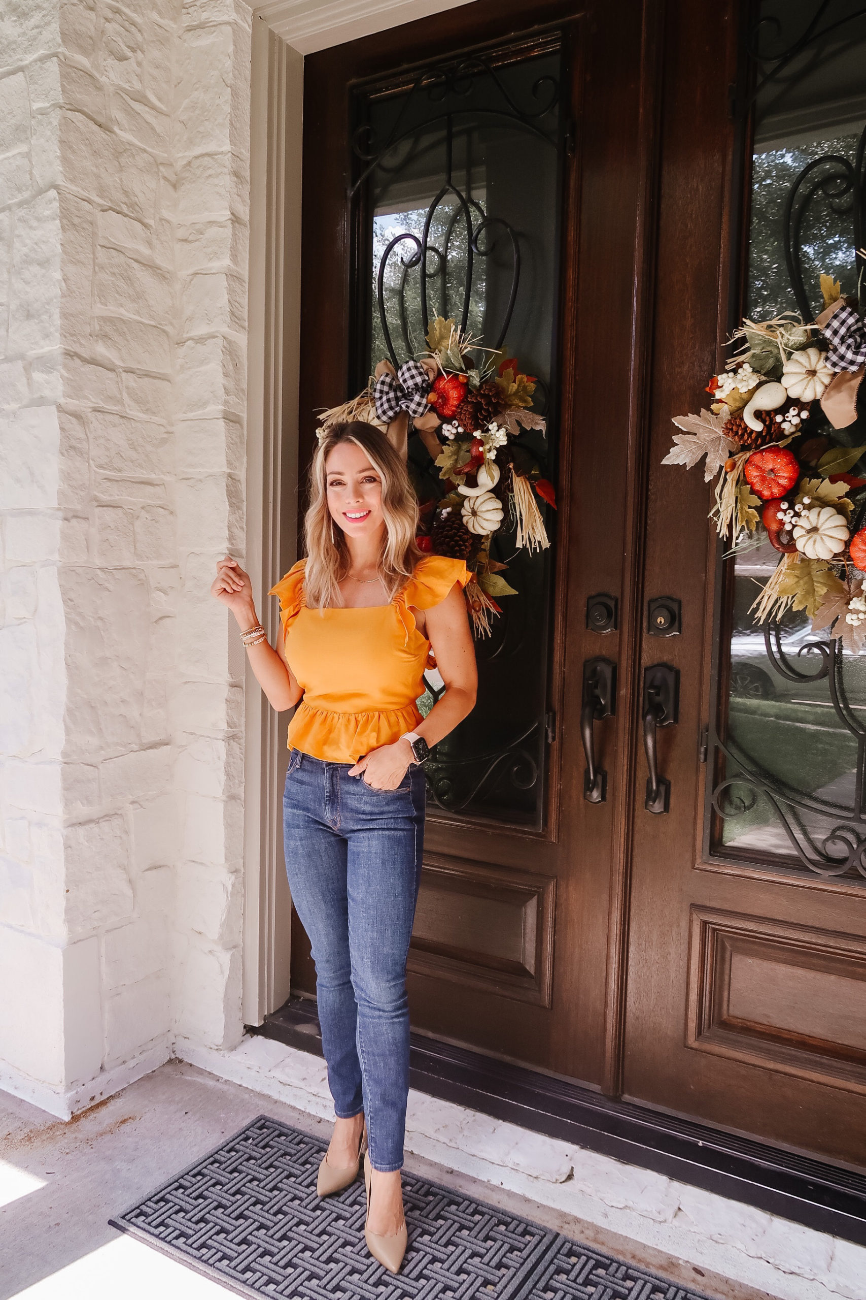 Peplum Top and Jeans with Heels