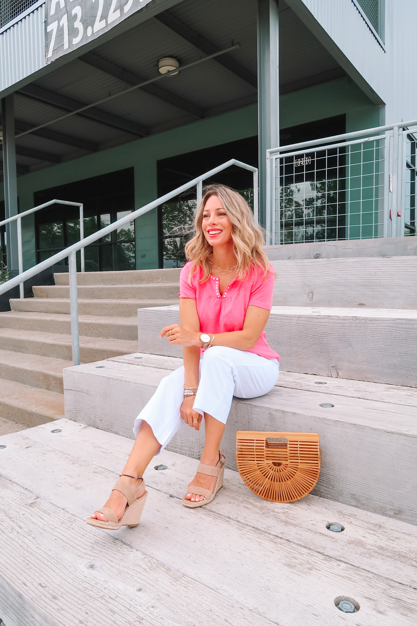 Outfits Lately, Pink Split Neck Top, Pants, Bamboo Clutch, Wedges