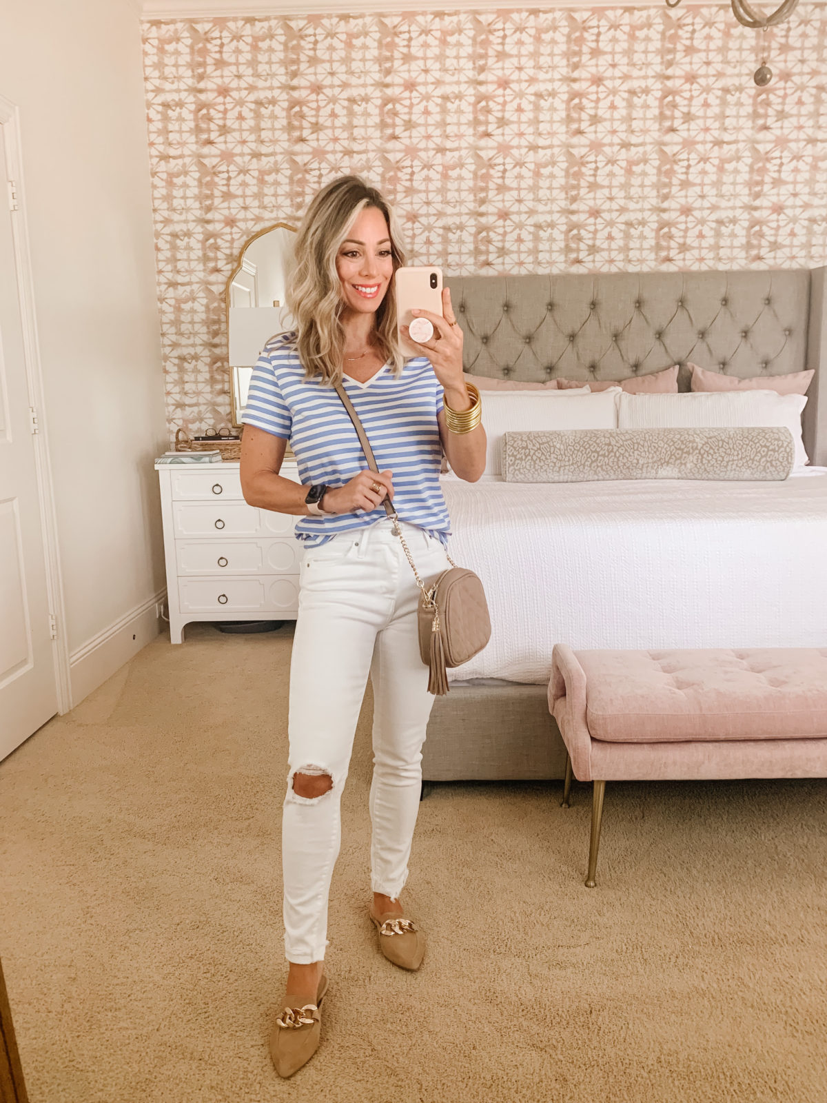 Amazon Fashion Faves, Striped Tee and Jeans with Mules