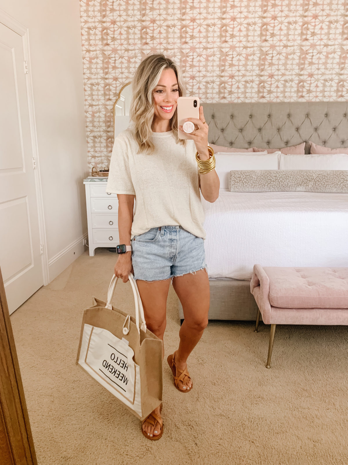 Amazon Fashion Faves, Sweater Top, Jean Shorts, Sandals, Tote
