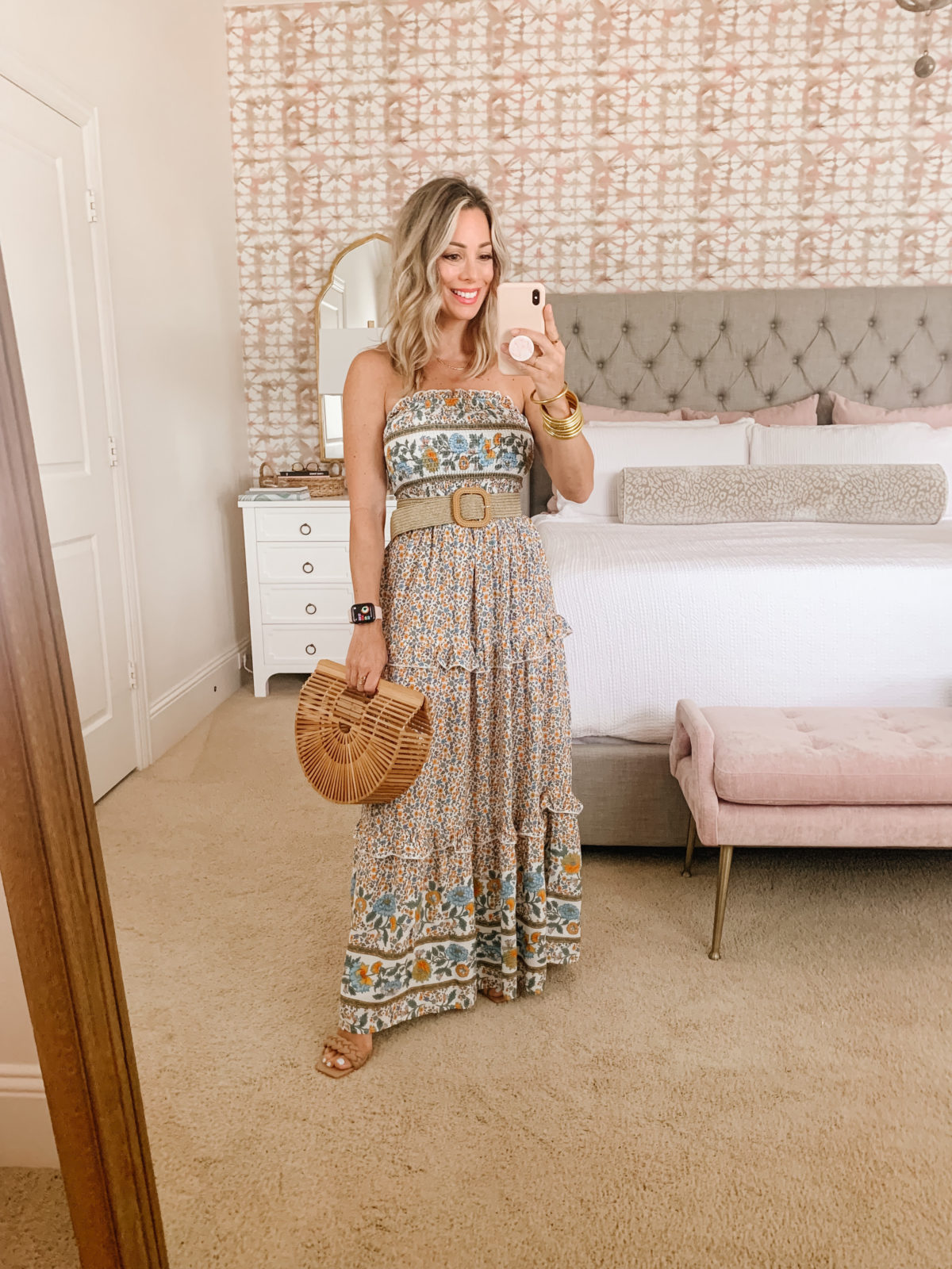 Amazon Fashion Faves, Smocked Floral Maxi Dress and Stretchy Belt with Bamboo Clutch
