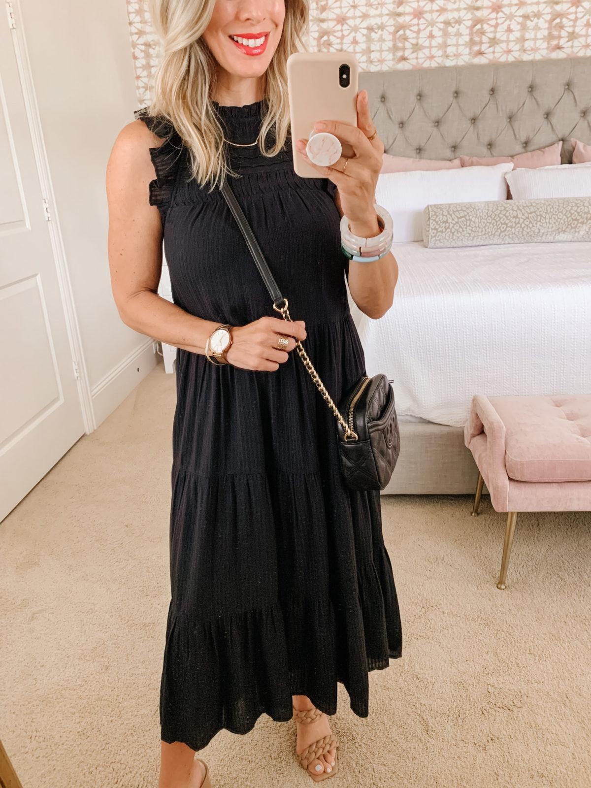 LOFT Black Dress, Sandals, Crossbody