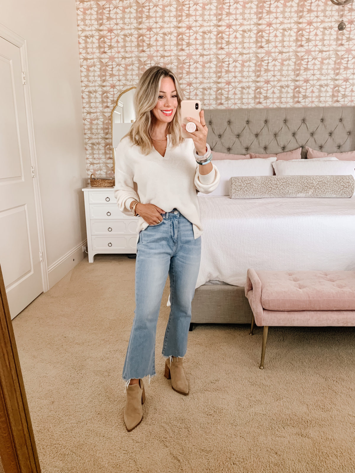 LOFT Fashion, Split Neck Sweater, Jeans, Booties