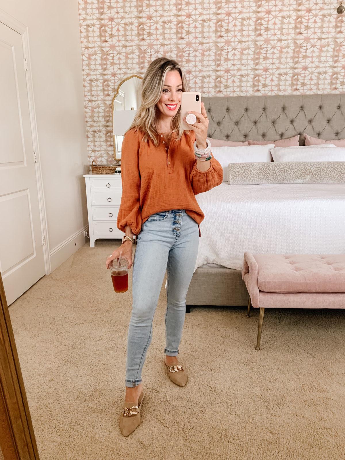 LOFT Fashion Top, Jeans, Mules