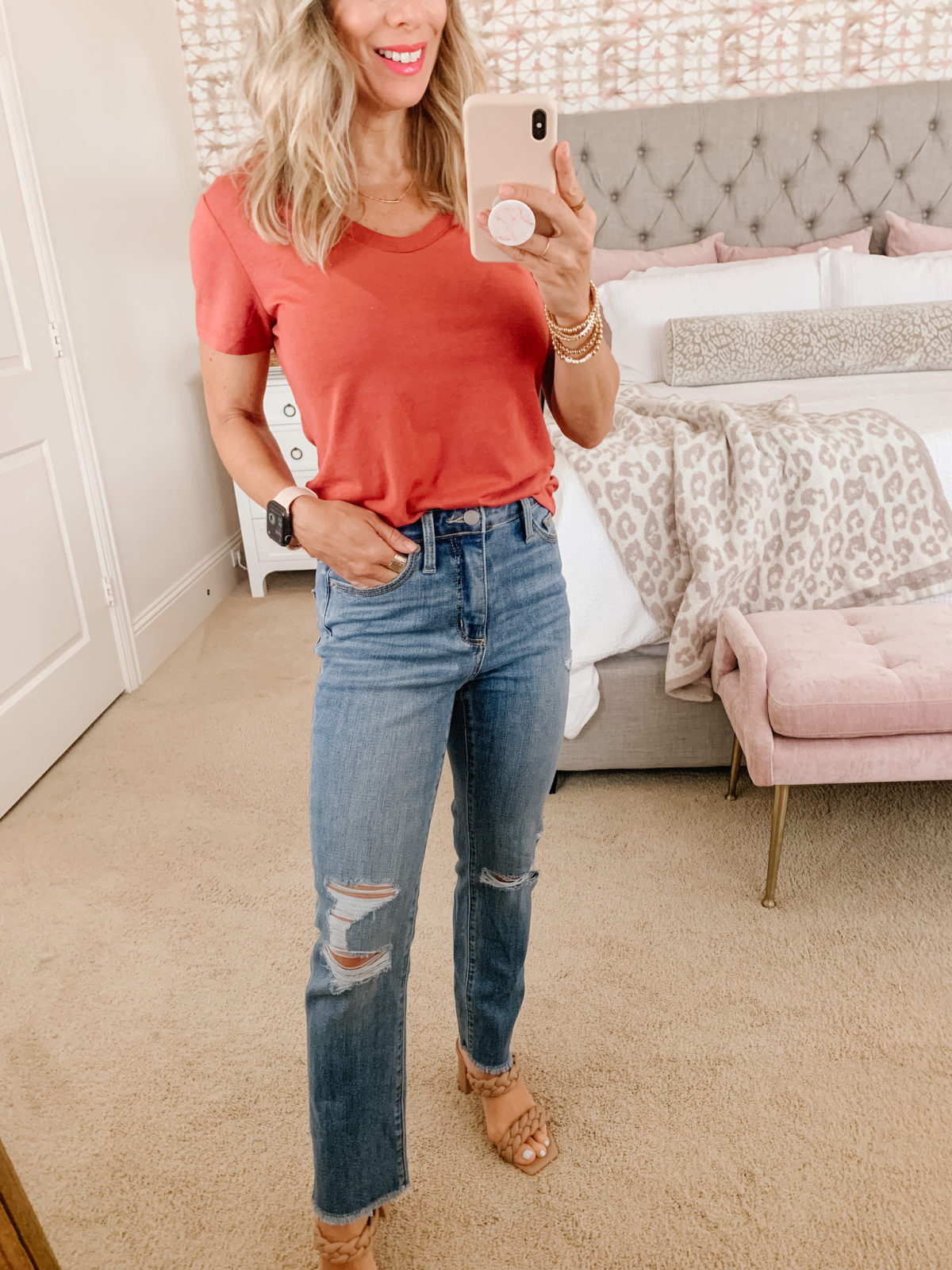 Target Fashion, V Neck Tee and Distressed Jeans and Sandals