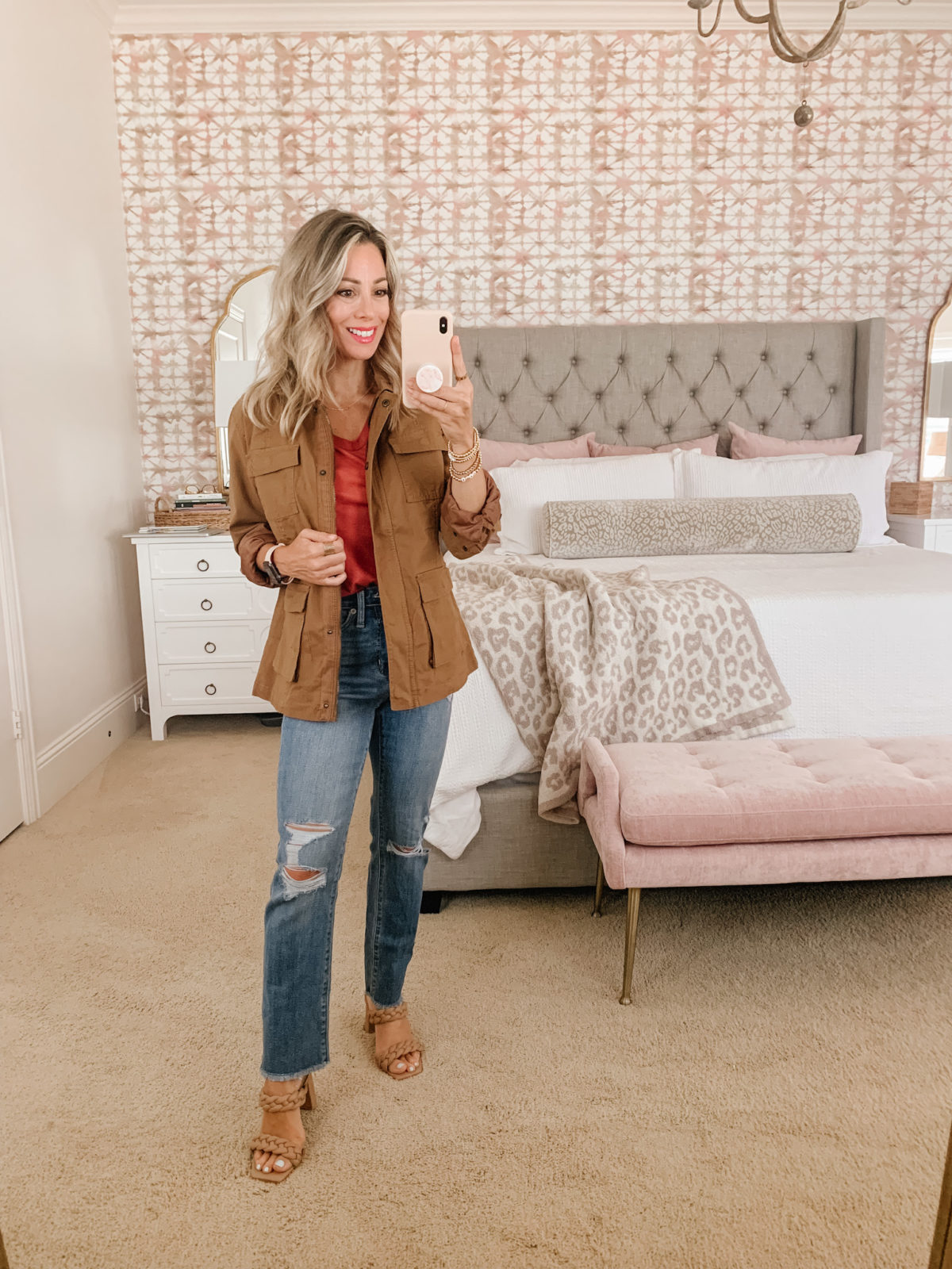 Target Fashion, V Neck Tee and Distressed Jeans and Sandals and Jacket