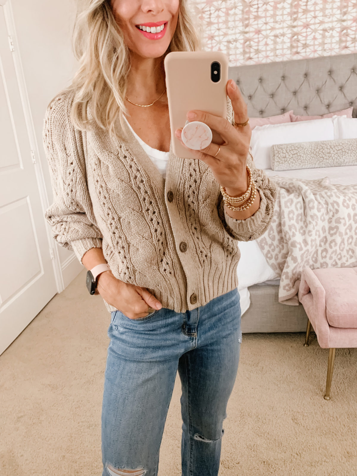 Target Fashion, White Tank, Sweater, Jeans, Sandals