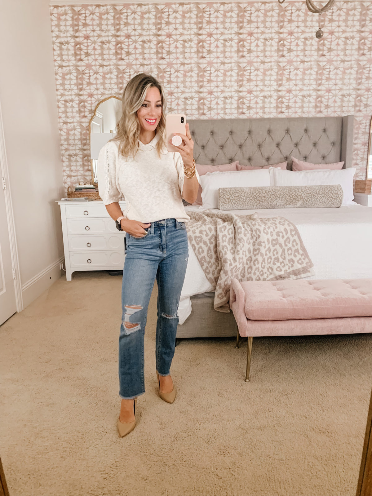 Target Fashion, Collard Sweater and Jeans with Heels