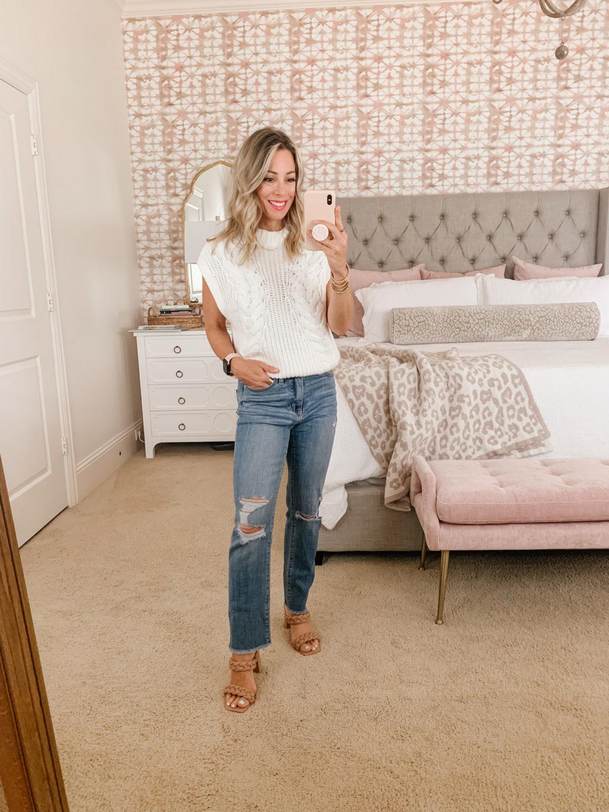 Target Fashion, Sweater Vest, Jeans, Sandals