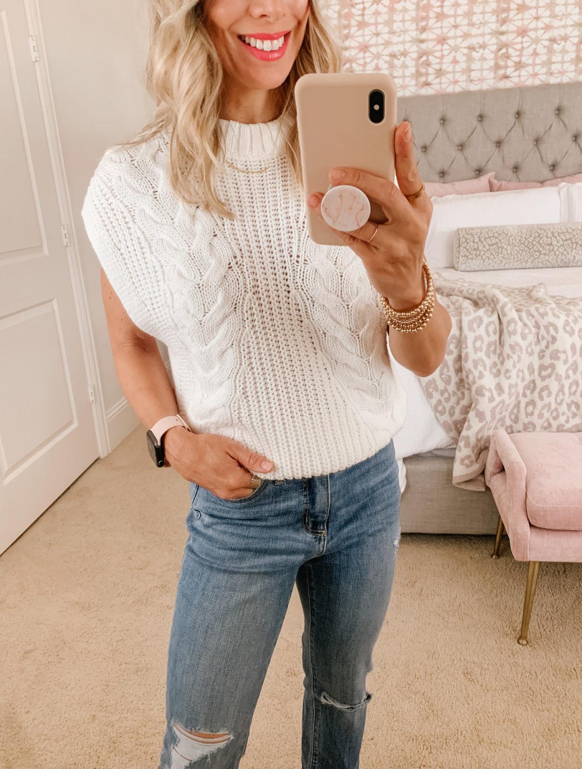 Target Fashion, Sweater Vest, Jeans