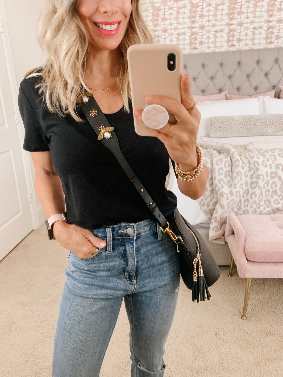 Target Fashion Finds, Black V Neck Tee, Jeans, Sandals, Crossbody